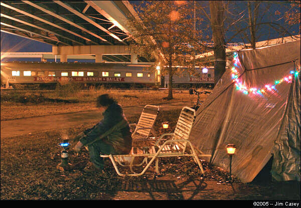 Homeless camps dot the landscape in  Huntsville.