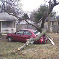 Rogue tornado in Huntsville's Five Points district causes wanton vehicle damage.